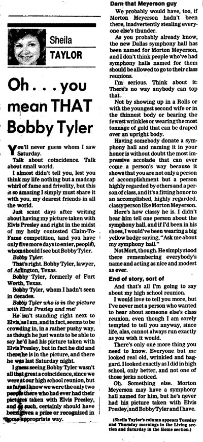 "Sheila Taylor article ""Oh...you mean THAT Bobby Tyler"""