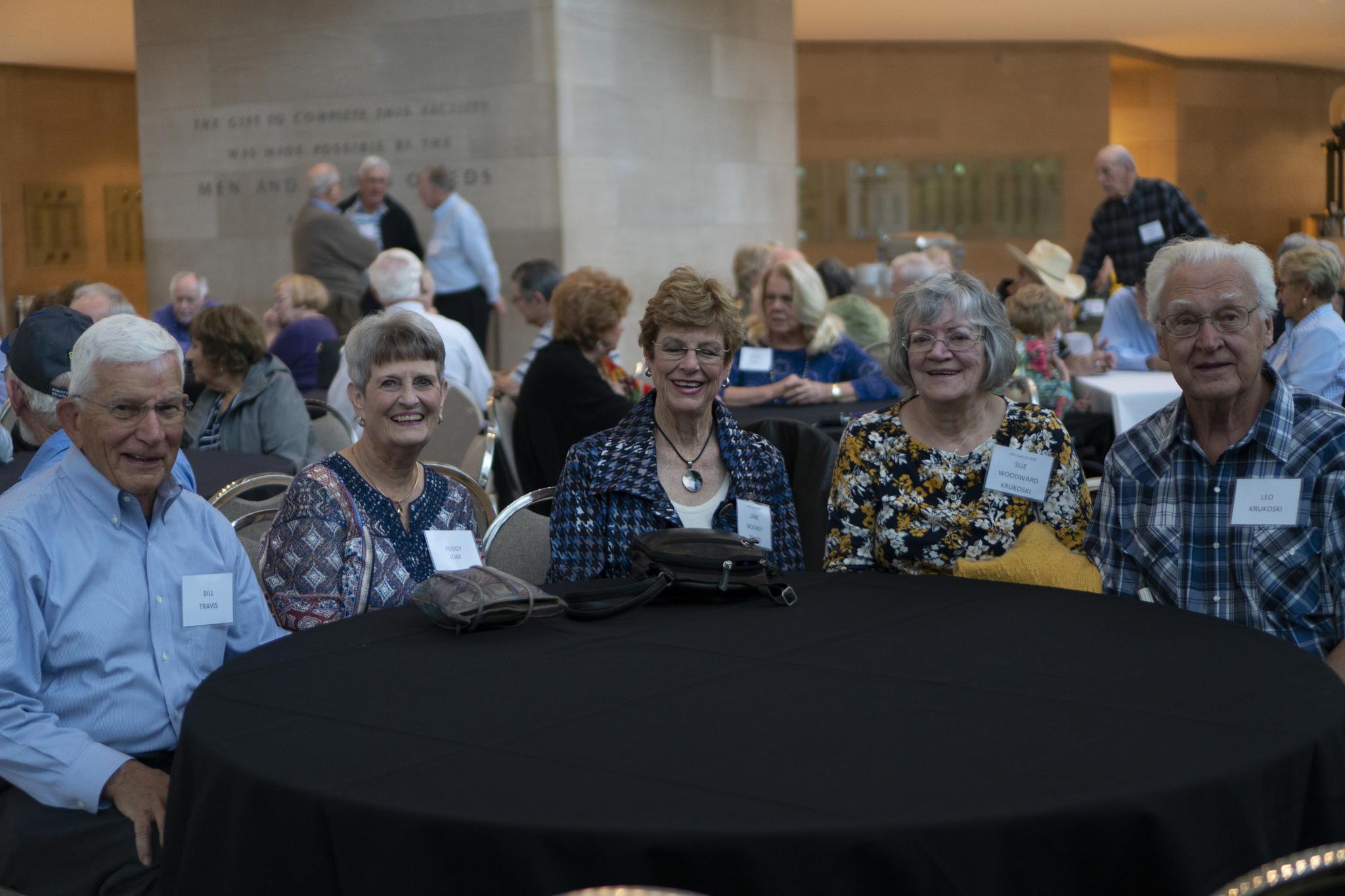 Bill Travis, Peggy Jobe, Jane Mooney Travis, Sue Woodward Krukoski and Leo Krukoski
